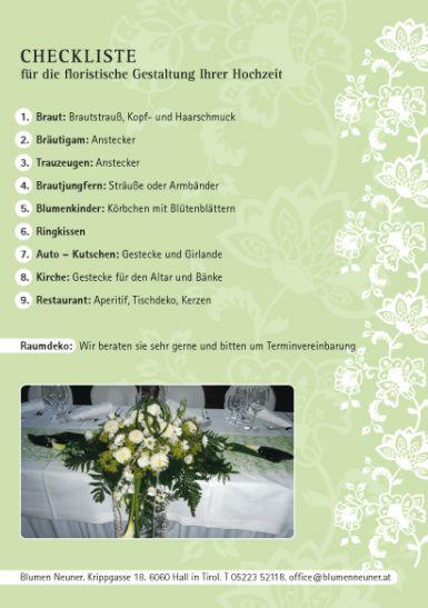 Checkliste Hochzeiten